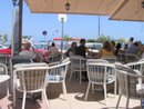 A sea front restaurant in summer