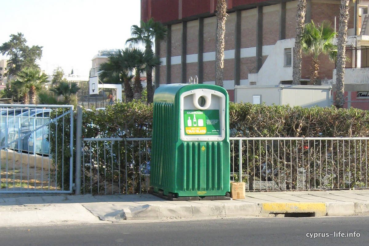 Green recycling bins for glass